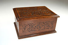 Hand carved original Arts and Crafts walnut box entwined mythical creatures