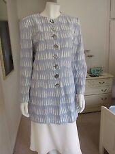 Jaeger Textured Acetate/Viscose Long Jacket Size UK 10 Blue/ivory