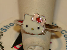 Hello Kitty SANRIO 925 STERLING Pink Bow Red Heart  Enamel  Ring 2.4Grams Size 7