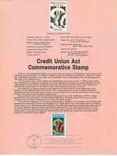 1984 U. S. USPS one Souvenir Page Scott 2075 Credit Union Act 20 cent stamp