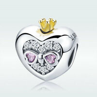 Sweet Princess S925 Sterling Silver Heart Charm Bead Pink CZ For Women Bracelet