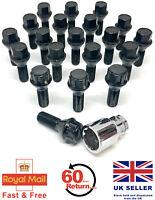 20 x alloy wheel bolts + Locks Locking M12 x 1.5 17mm Hex Black for BMW 3 series
