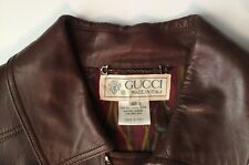 GUCCI BROWN LEATHER JACKET Blouson, maroon-gold lining, zip/button closure, 48