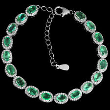 Unheated Oval Emerald 6x4mm Cz White Gold Plate 925 Sterling Silver Bracelet 7in