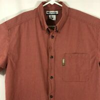 Columbia Mens Plaid Shirt Button Up Size Large Short Sleeve Dark Red Cotton