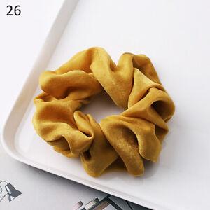 1PCS Yellow Silky Satin Solid Hair Ring Elastic Hair Bands Ponytail Hair Rope