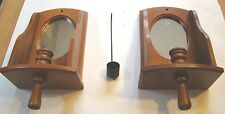 Pair Of Vintage Hand Made Wall Mounted Wood Sconces Candle Holders with Snuffer