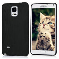 Full Cover Ultra Soft Silicone TPU Luxury Case For Samsung Galaxy Note4 Black UK