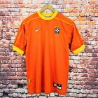 NIKE BRAZIL 1998 World Cup Men's Size Medium Orange Away Goalkeeper Shirt