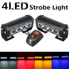 2x 12V 4 LED Strobe Flash Grille Light Warning Hazard Emergency Lamp Car Truck