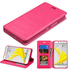 FOR HTC BOLT 10 EVO PINK LEATHER WALLET FLIP CASE HYBRID STAND FEATURE COVER