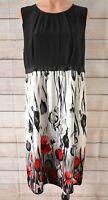 Trent Nathan Dress Shift Size 12 Medium Black White Red Floral Silk