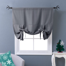 Nicetown Thermal Insulated Blackout Curtain - Grey Tie Up Shade for Small Window