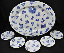 Antique Royal Worcester Aesthetic Japanese Blue 21 Inch Platter& 5 plates c 1877
