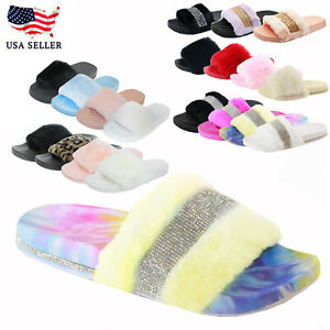 New Women's Faux Fur Rhinestone Glitter Strap Slide Fluffy Open Toe Flat Slipper