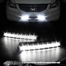 2X Universal White 8 LED Daytime Running Light Fog DRL