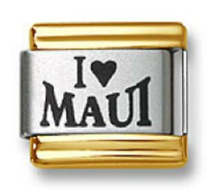 Italian Charm Bracelet Links Laser I Heart Maui Gold Trim 9mm Stainless Steel