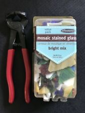 Mosaic Stained Glass Scrap Pieces, 20 oz Bright Mix & Drop Forged Glass Breaker