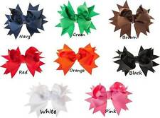 """1 Pair Solid Bows for Hair or Clip on Style Squeaky Shoes 4"""""""
