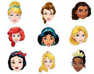 Disney Prinzessin Offiziell Kindergröße 2D Karten Party Maske Auswahl 9 Packung