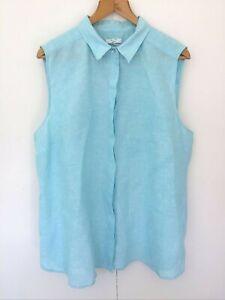 W Lane Women's Sleeveless Linen Top Size 20 Blue Button Front Shirt Summer