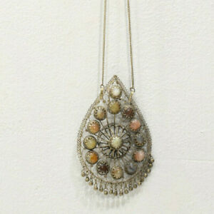 Necklace India Silver Agate Large Pendant