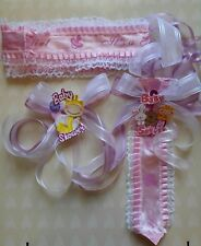 3pcs Baby Shower Mom To Be It's a Girl Sash & Tie for Dad pink Ribbon & Corsage