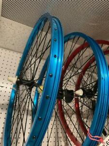 "Blue 26"" Bicycle Alloy WheelSet 12G Heavy Duty Spokes Cruiser Bikes"