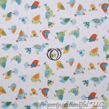 BonEful Fabric Cotton Quilt White Blue Green Yellow Bird Calico Small Tiny SCRAP
