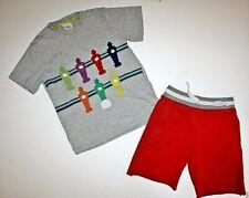 MINI BODEN Foosball applique shirt & cotton cutoff shorts Boys size 7 8