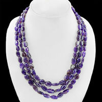 TREMENDOUS TOP SELLING 502.00 CTS NATURAL 3 LINE PURPLE AMETHYST BEADS NECKLACE