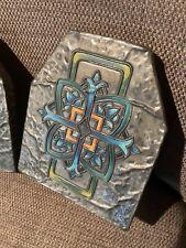 Vintage hammered Celtic design book ends