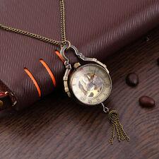 Antique Transparent Glass Ball Mechanical Pendant Pocket Necklace Watches QT