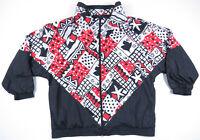 NWOT Vintage 80s 90s Abstract Geometric Full Zip Nylon Windbreaker Bomber Jacket