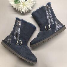 Ugg Australia Boots Blue Sequin Classic Short Zipper Limited Edition RARE Size 9