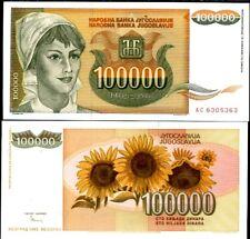 Yugoslavia 100,000 100000 Dinara 1993 P 118 Unc