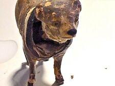 ANTIQUE VICTORIAN MINIATURE BOBBLE NODDER PAPIER  PAPER MACHE DOG  ANIMAL TOY