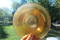"Iridescent Marigold Depression Carnival Glass Footed Bowl Carnival wide 9"" MINT"