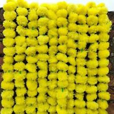 Artificial Marigold Fluffy Yellow Flower Garlands For Home Decoration 50 Pcs Lot