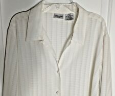 Liz Baker Woman Blouse Sheer Cream Color Shirt Long Sleeve Button Up  Size 20W