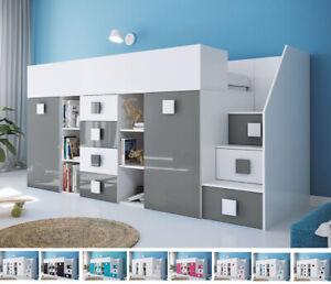 Hochbett mit Schreibtisch Jugendbett Weiß Rife 3 Multifunktionsbett 90x200 cm