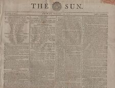 "RARE ORIGINAL NEWSPAPER ""THE SUN"" (17 October 1800)POTATO THIEF SHOT - SHIP LOST"
