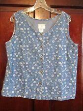 Susan Bristol Casuals Women's Size PL Floral Blue Jean Vest Top