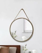 Leather Strap Wooden Wall Mirror/Round Hanging Mirror ( Natural , 50 dia )-M31N