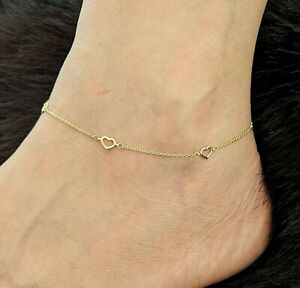 """Open Heart Anklet Bracelet 14k Yellow Gold 9 1/2""""-10""""( Not Gold Filled or Plated"""