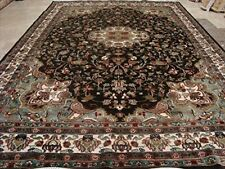 Floral Medallion Chocolate Brown Area Rug Wool Silk Hand Knotted Carpet (9 x 6)'