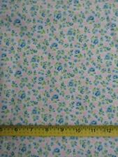 Flannel Fabric 100% Cotton Brushed One Side Blue Pink Tiny Flowers BTHY
