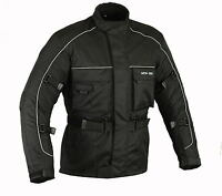 Mens Motorcycle Waterproof Cordura Textile Jacket Motorbike Armours BLACK MCW