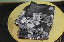 Dress Barn Scarf Turban Hair Wrap Black White Grayscale Floral Retro Large Size