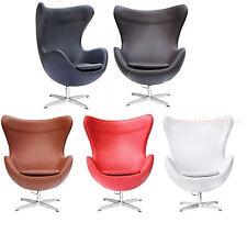 Italian Top Grain Leather Fiberglass Shell Oval Ovum Chair Red Black Brown White